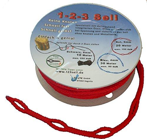 1-2-3-Seil rot Spezialseil Länge 20 Meter Ø 6mm