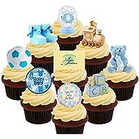 Baby Shower Gemelos/niños, azul – decoración para tarta para comestible stand-up