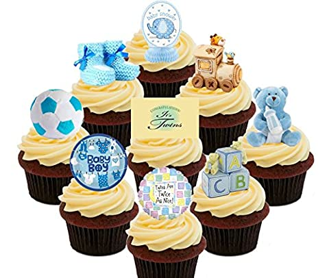Baby Shower Twins / Boys - Blue Edible Cupcake Toppers - Stand-up Wafer Cake Decorations (Pack of 36)
