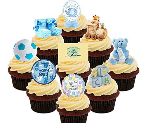Baby Dusche Twins/Jungen, blau essbaren Kuchen Dekorationen-Stand-Up Wafer Cupcake Topper, Pack of 72 (Twin Baby-dusche-dekorationen)