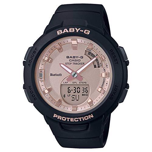 CASIO Damen Analog-Digital Quarz Uhr mit Harz Armband BSA-B100MF-1AER, Rosa-Schwarz