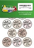 Aufkleber Selbstgemacht mit Liebe, Sticker aus edler Folie, wasserfest, verpacken, homemade, selfmade (pastell)