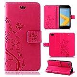 betterfon | Flower Case Handytasche Schutzhülle Blumen Klapptasche Handyhülle Handy Schale für HTC One A9s Pink