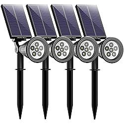 Mpow LED Proyector Solar, Luz de Jardín Brillante de 6 LED, 2 Modos de Iluminación Opcionales, Panel Solar de Alto Rendimiento,ángulo de 180° Ajustable(4 Paquetes)