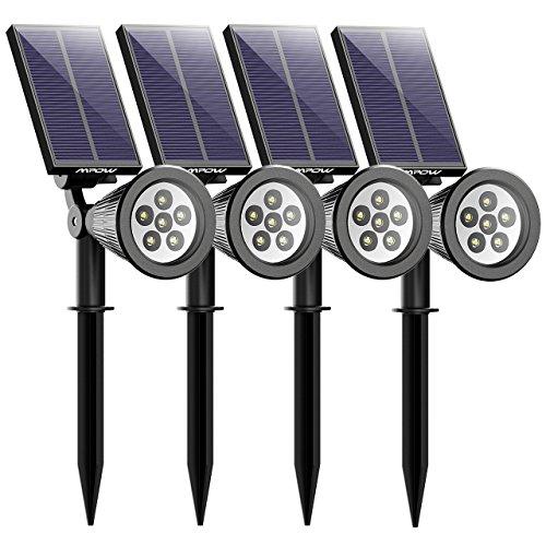 Mpow 4 Stücke LED Solar Solarleuchten, Outdoor Wandleuchte, 6 LED Helle Garten-Licht, 2 Beleuchtungsmodi, Wasserdicht, 90 Grad Winkelverstellbar, Sicherheitsbeleuchtung, Großes Außenlicht für Garten, Hof, Garage, Wand, Pathway und Patio