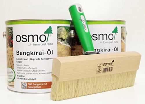 AB.Bauconcept GbR© Kombiangebot: Osmo Bangkirai-Öl 006 5 Liter und Osmo Fußbodenstreichbürste 220 mm