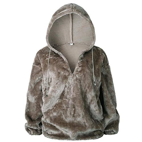 EFINNY Damen Lose Sweatshirtjacke Fuzzy Fleece Mantel Weiche Warm Langarm Kapuzenjacke Outwear Coat - Reversible Hooded Mantel