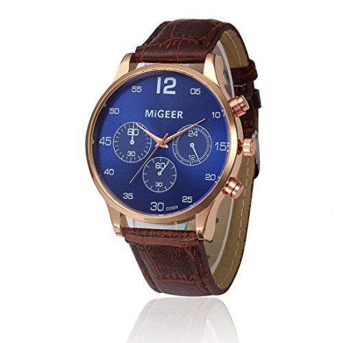 Preisvergleich Produktbild Sansee Retro Entwurfs Leder Band analoge Legierungs Quarz Armbanduhr - MIGEER-Gürtel-Uhr (braun)