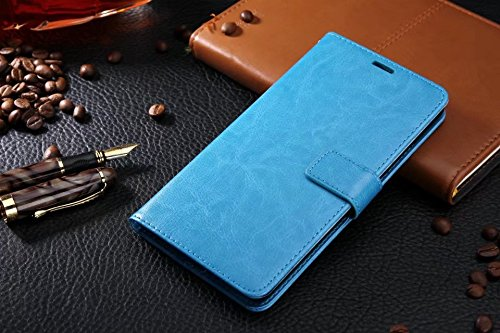 Für Huawei P10 Plus Fall, Normallack TPU / PU Ledertasche Folio Flip Stand Brieftasche Case Cover mit 2 Karten Slot & 1 Cash Slot ( Color : Brown ) Blue