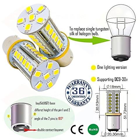 Wiseshine ampoule bay15d 1157 chaud canbus led bulbe DC9-30v 3 ans d'assurance qualité (pack de 2) bay15d 36smd 2835 blanc pur