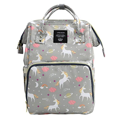 Baby Essentials Premium Waterproof 25 L New and Fashionable Unicorn Design Diaper Bag for Mothers and Baby for Travel - Stylish Tote & Bagpack - Grey