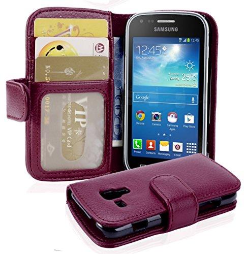 Cadorabo Custodia Libro per Samsung Galaxy Trend Plus in Lila Bordeaux – con 3 Vani di Carte e Chiusura Magnetica – Portafoglio Cover Case Wallet Book Etui Protezione