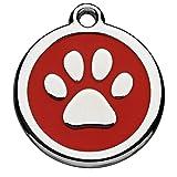 Tiermarke Red Dingo mit persönlicher Gravur gestalten (Hundemarke mit Gravur, Vorderseite: Motiv Pfote, Rückseite: personalisierbarer Text , inkl. Schlüsselring, aus Aluminium, per Lasergravur), rot