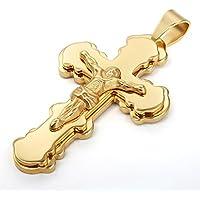 Vnox Collana con pendente delle donne degli uomini in acciaio inossidabile placcato oro 18K Gesù Cristo Crocifisso Croce con la catena libera