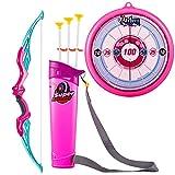 Tosbess - Set di bersaglio per bambini con freccia e arco per tirare l'arco, giocattolo per bambini, Rosa, 66 * 13 * 3cm