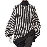 Hanomes Damen pullover, Damenmode Striped Print Langarm Top Gestrickte Rollkragenpullover Bluse