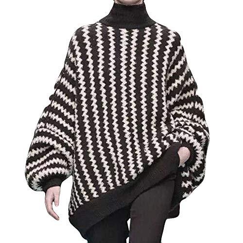 Dorical Damen Herbst Winter Pullover Mode Striped Print Lange Laterne SleeveTop Gestrickte hochgeschlossenen Pullover T-Shirt