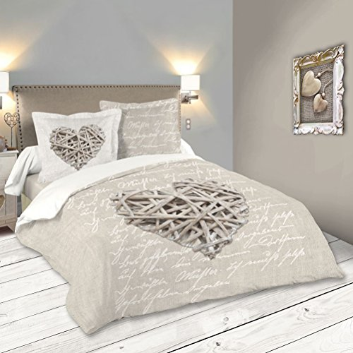 Lovely Casa HP41783001 Woodlove Housse de Couette Coton Lin 260 x...