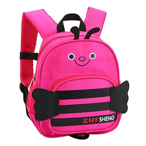 Longra Zaino per borsa a tracolla doppia a nido dape in cartone animato di tela + poliestere per bambini Rosa Caldo