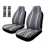 COPAP 4piezas rayas colorido baja universal para asiento delantero Baja cubo asiento cubierta sillín Azul manta con cinturón Pad Protectores Para Coche, SUV y Camiones