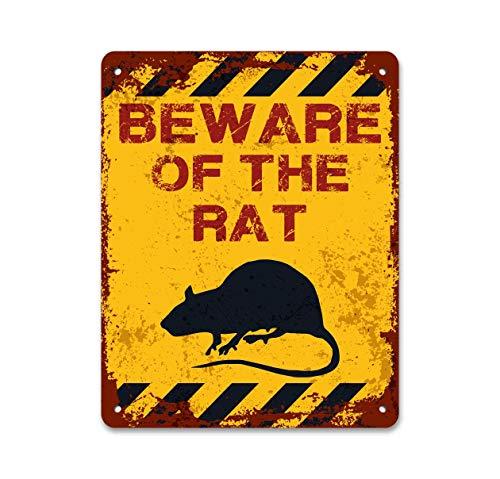 Beware of The Rat Pet Rat Funny Metal Sign Halloween Decor