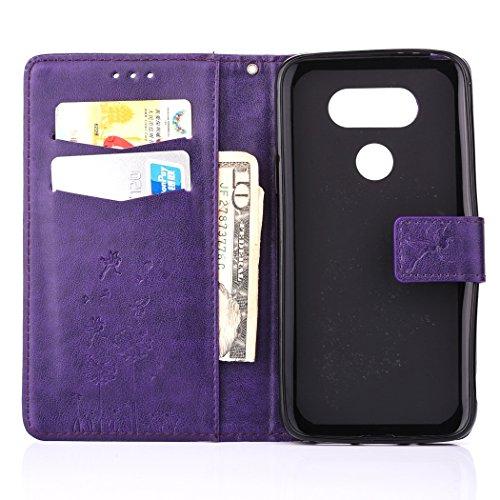 SainCat Coque Etui pour LG G5, LG G5 Coque Dragonne Portefeuille PU Cuir Etui, Coque de Protection en Cuir Folio Housse, SainCat PU Leather Case Wallet Flip Protective Cover Protector, Etui de Protect Pissenlit en relief-Violet
