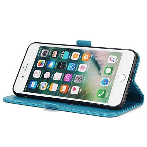 iPhone 7 Plus Cover, Custodia per Apple iPhone 7 Plus, ISAKEN Custodia Fiore e Ragazza Design PU Pelle Book Folding Case Glitter Bling Cover, Supporto Stand e Porta Carte Integrati Portafoglio Flip Co Girl: blu