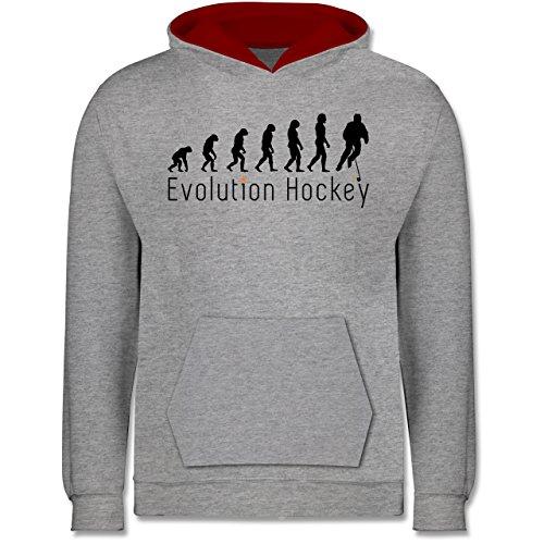 Shirtracer Evolution Kind - Evolution Hockey - 12-13 Jahre (152) - Grau meliert/Rot - JH003K - Kinder Kontrast Hoodie