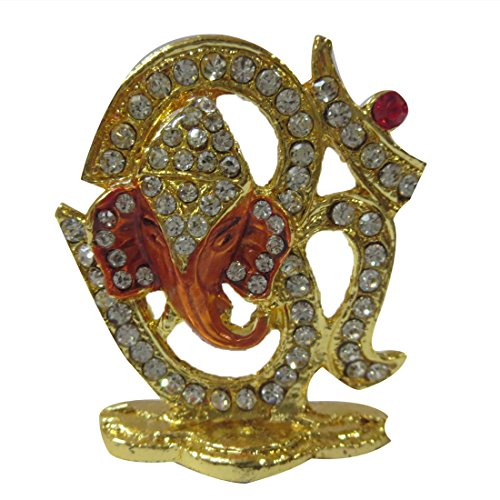 DCS Small Om Golden Color with Glowing Stones Statue with Ganesha for Car Dashboard or Car Front Panel  available at amazon for Rs.220
