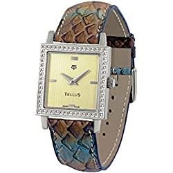 Tellus - Vintage - Luxury Women's watch with gold dial, brown strap in Genuine python, Swiss Made - T5067DI-110