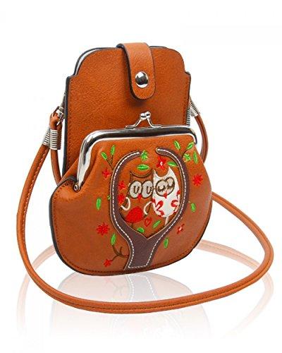 LeahWard® MINI Größe!!! Damen Mode Essener Blume Umhängetasche Qualität Kunstleder Bote Party Tasche Handtasche CWF003 CWF5348 Braun Eule