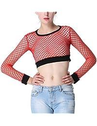 Fräulein Fox Été Femmes Haut Fashion Col Rond Crop Tops à Manches Longues  Sexy Serré Résille 9c16871aa47a