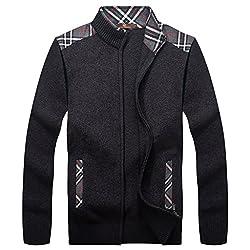 WENJUN Men's Cardigan Zipper Collar Straight Sweater Coat 2 Colors To Choose From from WENJUN