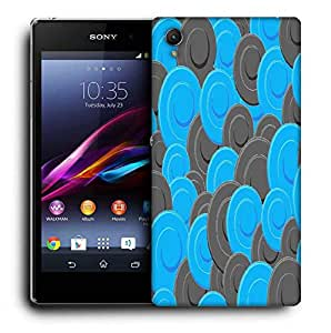 Snoogg Blue Grey Pattern Printed Protective Phone Back Case Cover For Sony Xperia Z1
