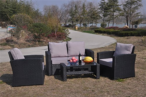 YAKOE 4-Piece Rattan Garden Furniture Sofa Set Table And
