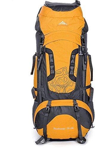 Bergsteigen im Freien Reisetasche 75L Große Kapazität Rucksack Wandern Zelten für Männer und Frauen Gelb
