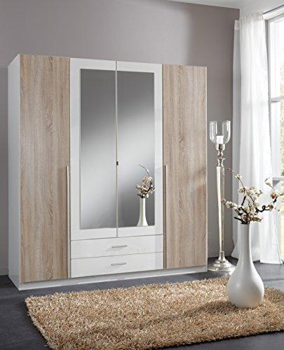 wimex 119453 kleiderschrank 4 t rig mit zwei schubk sten und zwei spiegelt ren front korpus. Black Bedroom Furniture Sets. Home Design Ideas