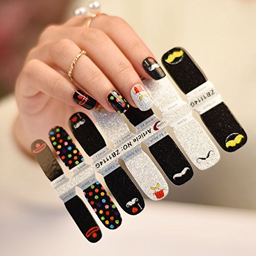 Moustache Love Glitter - 16 tips Nail Polish Stickers – DIY Salon like finish manicure at home by FAB Nails that fit all nails