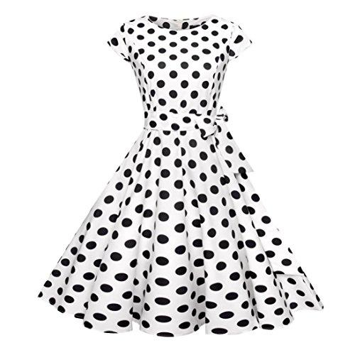 (Vectry Kleider Damen Kleid Brautjungfernkleid Petticoat Lange Kleid Sommer Jumpsuit Kurz Ballkleid Kleiderbügel Über Dem Knie - Vintage Bodycon Lässige Retro Abend Prom Swing (S, Weiß))