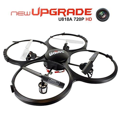 Drone con Cámara HD de 720P, UDI U818A Cuadricópteros UFO RC con Modo Sin Cabeza, Rotación de 360° y Luz LED - Control Fácil para Principiantes (Tarjeta de Memoria de 4GB Incluye)