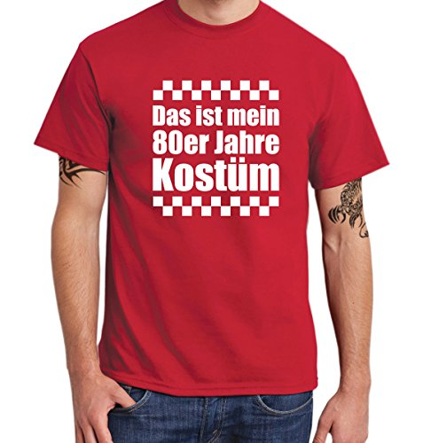 ::: DAS IST MEIN 80ER JAHRE KOSTÜM ::: T-Shirt Herren Rot mit weißem Aufdruck