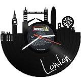 GRAVURZEILE Skyline London Wanduhr aus Vinyl Schallplattenuhr Upcycling Design Uhr Wand-Deko Vintage-Uhr Wand-Dekoration Retro-Uhr Made in Germany