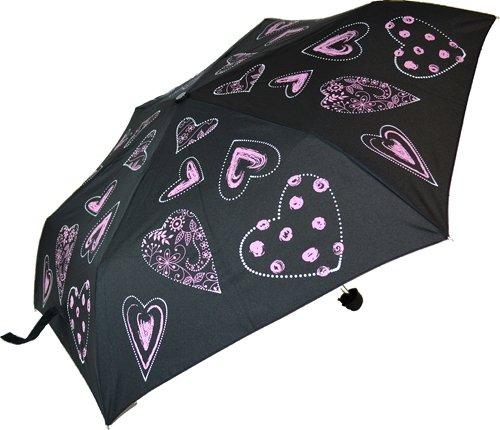 Blooming Brollies Everyday - kleinen Regenschirm Handtaschenschirm Damen - Herzen (rosa schwarz)