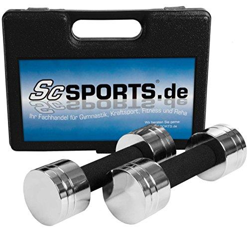 ScSPORTS Hantelset, Kurzhanteln, Hantelscheiben-Set Chrom, 5 kg Kurzhantelset im Koffer, schwarz