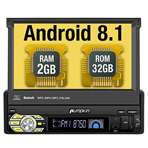 PUMPKIN Android 8.1 Autoradio 1 DIN GPS Ecran Tactile numérique 7 Pouces Navigation de Voiture ROM:32GB supporte Bluetooth WiFi 3G USB SD Commande au Volant Radio RDS OBD2 Dab+