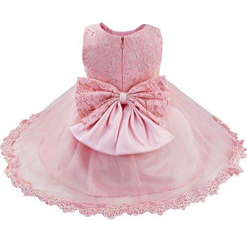 iiniim Baby Mädchen Kleid Festlich Prinzessin Kleid Blumenmädchenkleid Mesh Taufkleid Hochzeit Partykleid Festzug Gr.62-86 Rosa Stil 2 68-74/6-9 Monate