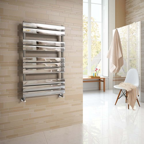 iBathUK | 1000 x 600 mm Chrome Designer Flat Panel Heated Towel Rail Radiator - All Sizes