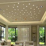 vovo Wohnkultur, Vovotrade Stern Acryl Kunst 3D Wandspiegel Aufkleber DIY Home Wohnzimmer Schlafzimmer Decals Decor Removable Wandbild Decals (Silver, 50mm)