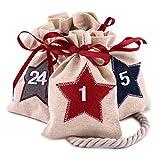 Pajoma Adventskalender Beutel Star - 24 nummerierte Jutebeutel - zum Befüllen und aufhängen, Weihnachten