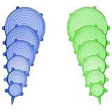 Sothat Coperchi Elasticizzati in Silicone, 12 Contenitori Vari Contenitori Flessibili Gratuiti Coperchi Alimentari per Tutti Forma di Contenitori, Microonde, Resistente agli Alimenti